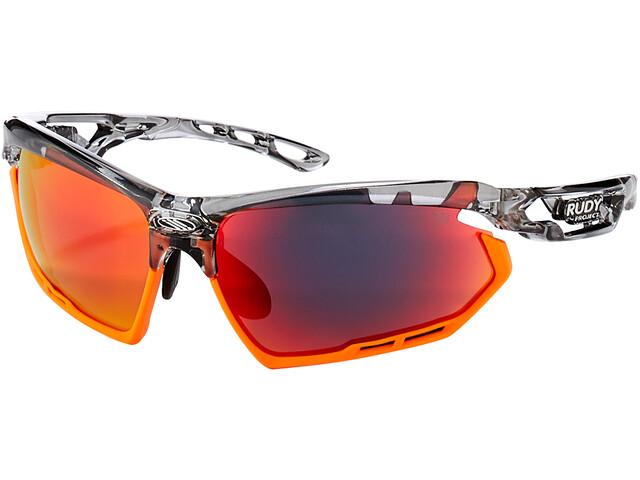 Rudy Project Fotonyk Okulary rowerowe, crystal graphite/mandarin/multilaser red